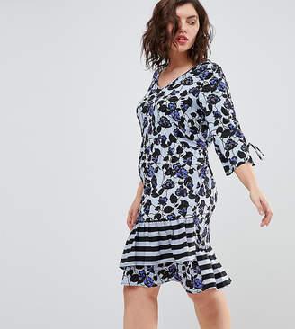 Junarose Floral Print Stripe Dress