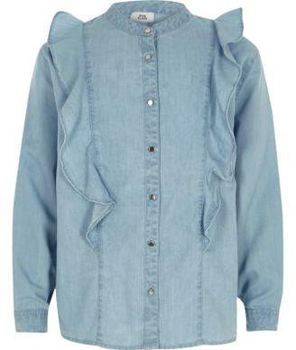 River Island Girls light blue denim frill shirt
