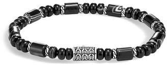 John Hardy Sterling Silver Classic Chain Black Agate Beaded Bracelet