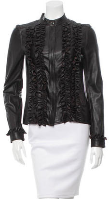 Mulberry Leather Ruffle-Trimmed Top $295 thestylecure.com