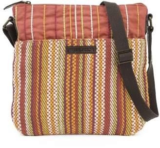 Tabitha Ashton & Willow Tomato Red Beach Handbags Explorer Crossbody Cotton Adjustable Strap Antique Brass Hardware Canvas Striped Crossbody
