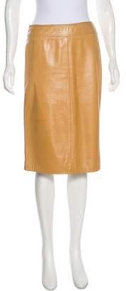Donna Karan Leather Pencil Skirt