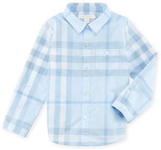 Burberry Trauls Pale Check Shirt, Blue, 3-24 Months