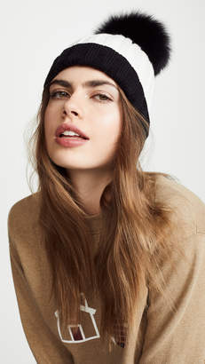 Adrienne Landau Ribbed Two Tone Hat with Fur Pom