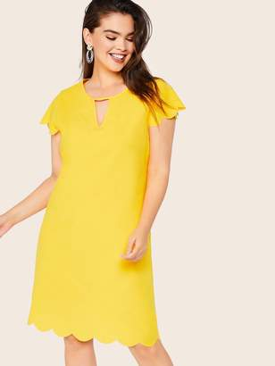 Shein Plus Keyhole Neckline Scallop Hem Tunic Dress