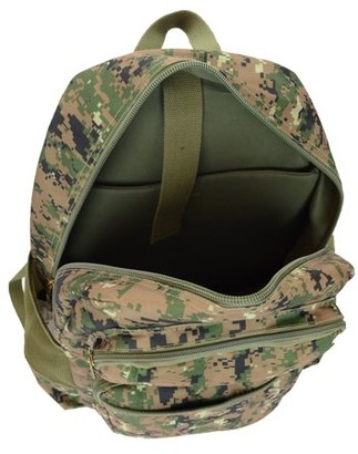 Montauk Leather Club Military Camouflage Print Water Resistant Backpack with 2 Front Zipper Pockets
