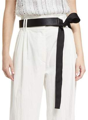 Brunello Cucinelli Grosgrain-Tie Leather Belt, Black