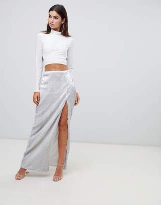 Club L sequin maxi skirt with high thigh split
