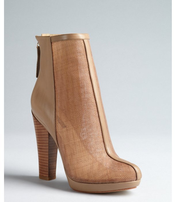 Rachel Zoe khaki leather and sheer mesh mixed media 'Maddy' ankle boots