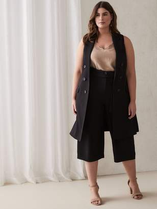 Faux Double Breasted Sleeveless Blazer Vest