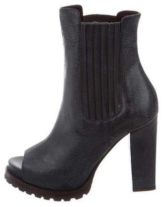 Brunello Cucinelli Peep-Toe Ankle Boots