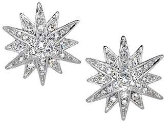 Kenneth Jay Lane Silver Crystal Starburst Pierced Or Clip Earrings