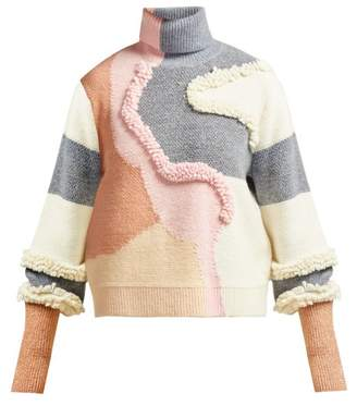 Peter Pilotto Patchwork Cotton Blend Knit Sweater - Womens - Pink Multi