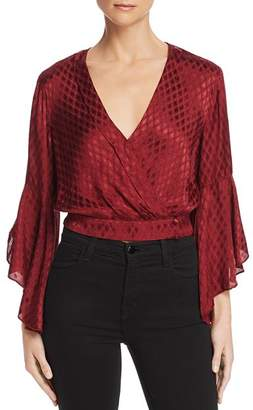 Band of Gypsies Rene Faux-Wrap Cropped Top