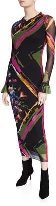 Fuzzi Flower Patchwork Crewneck Long-Sleeve Dress