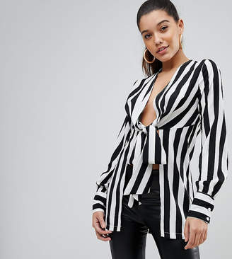 PrettyLittleThing Stripe Tie Front Blouse
