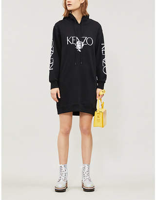 Kenzo Embroidered logo and rose cotton-jersey hoody dress