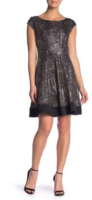 Robbie Bee Metallic Printed Fit & Flare Dress