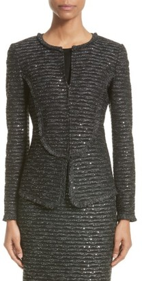 Women's St. John Collection Sparkle Wave Tweed Knit Jacket $1,795 thestylecure.com