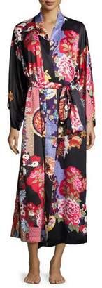 Natori Mikado Floral-Print Long Robe, Black