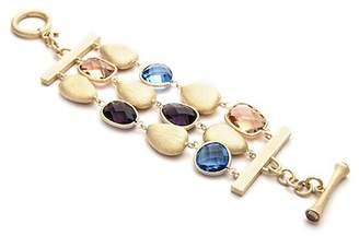 Rivka Friedman 18K Gold Clad Faceted Amethyst, Swiss Blue, Peach Crystal & Satin Pebble 3-Row Bracelet