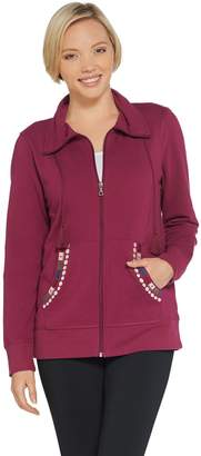 Denim & Co. Active Zip-Front Embroidered Knit Jacket