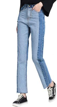 ABCWOO Womens Straight Leg Jeans Color Block Fringed Stretchy High Rise Denim Pants