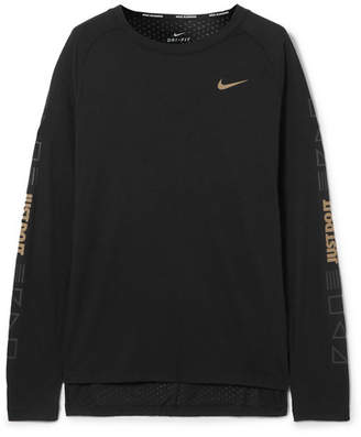 Nike Tailwind Printed Perforated Stretch-jersey Top - Black