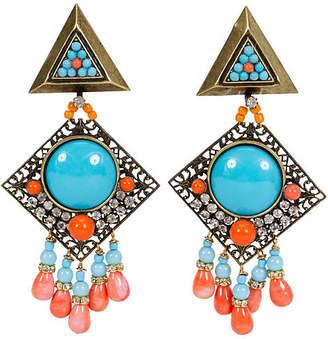 One Kings Lane Vintage Vrba Turquoise Coral Clip Earrings
