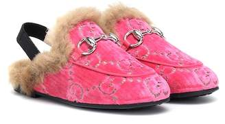 Gucci Kids Princetown GG velvet slipper