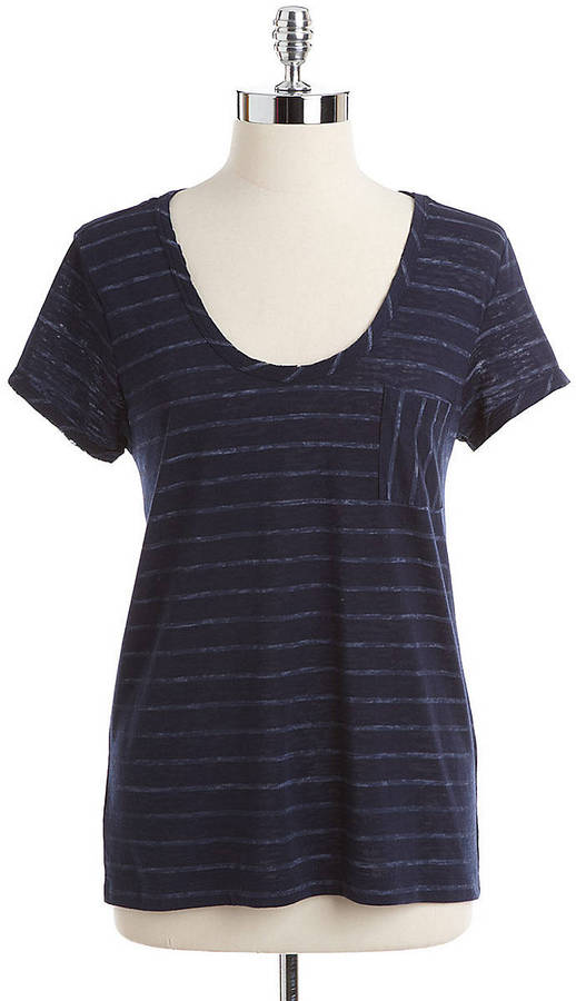 Vince Camuto TWO BY Striped Scoopneck Pocket Tee