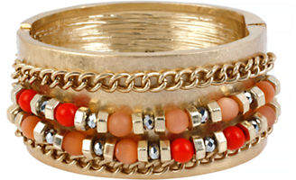 Kenneth Cole New York Citrus Slice Mixed Bead and Chain Hinged Bangle Bracelet