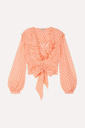 Temperley London Ruffled Polka-dot Silk-chiffon Blouse - Peach