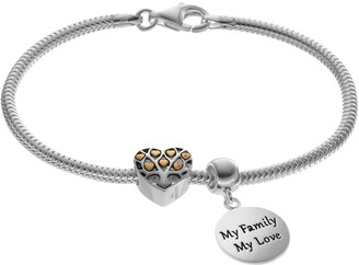 "Individuality Beads Sterling Silver & 14k Gold Over Silver Shake Chain Bracelet, ""Family"" Charm & Heart Bead Set"