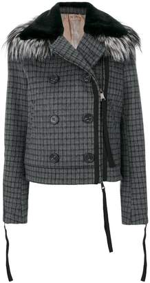 No.21 checked cropped jacket