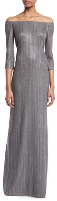 St. John Off-the-Shoulder Plaited Stardust Rib-Knit Gown