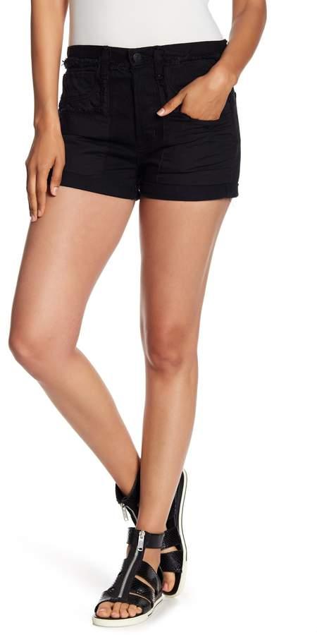 Folded Cuff Frayed Shorts