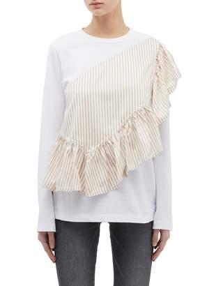 3.1 Phillip Lim 'Flamenco' ruffle stripe panel long sleeve T-shirt