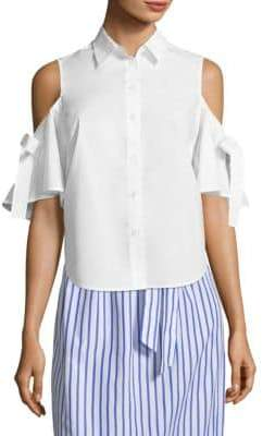 Draper James Cold-Shoulder Cotton Button-Down Shirt