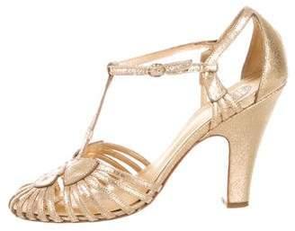 Tory Burch Metallic T-Strap Sandals