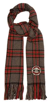 Gucci Fringed Houndstooth Check Logo Patch Scarf - Mens - Black Red