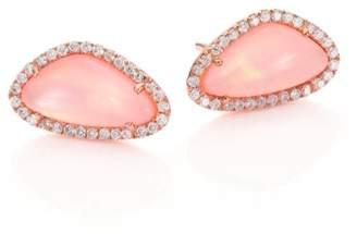 Meira T Rose Quartz, Mother-Of-Pearl, Diamond & 14K Rose Gold Stud Earrings