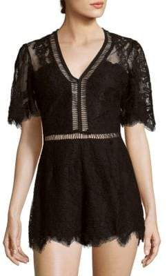 Lovers + Friends Josephine Scalloped Floral Lace Romper