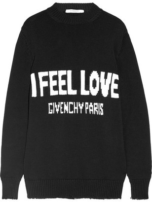Givenchy - Intarsia Cotton Sweater - Black $1,095 thestylecure.com