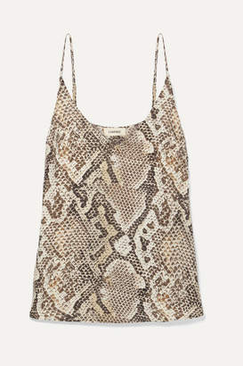 L'Agence Gabriella Snake-print Silk Crepe De Chine Camisole - Brown