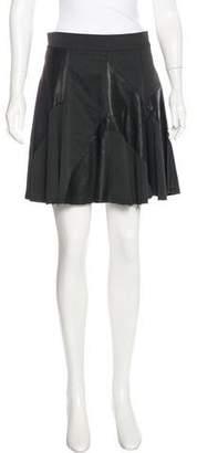 Alice + Olivia Leather-Paneled Mini Skirt