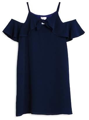 Sally Miller Girls' Gracey Textured Chiffon Cold-Shoulder Shift Dress - Big Kid