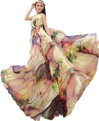 Medeshe Women's Chiffon Floral Holiday Beach Bridesmaid Maxi Dress Sundress (Length-130cm)