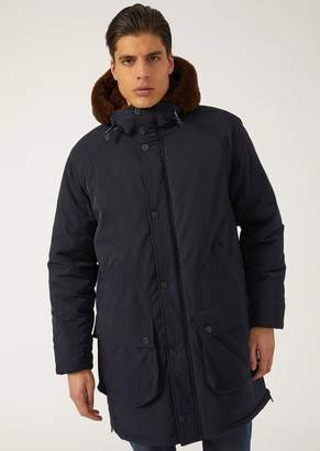 Emporio Armani Parka With Twill Outer And Faux Fur Details