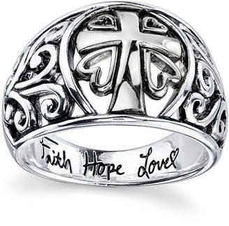 FINE JEWELRY Inspired Moments Sterling Silver Scroll Cross Ring